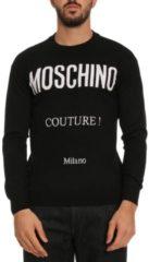 Nero Pullover In Pura Lana Vergine Con Maxi Logo Moschino Couture Milano