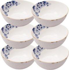 Blauwe Heinen Delfts Blauw Soepkommen set 6 - soepkom - ø 16 cm - soepkom wit - schaaltjes voor snacks - chipsschaal - Schaaltjes - kommetjes aardewerk - soepborden - soepkom set