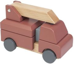 Oranje Sebra fire truck in wood,toys