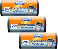 Zwarte Swirl Afvalzakken Fixeerband 20ltr Multipack 3 rollen van 15 stuks