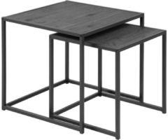 Witte MOOS Meubelen-Online Honkytonk Bijzettafel set twee tafels zwart essen - 50x50x45cm - Industrieel