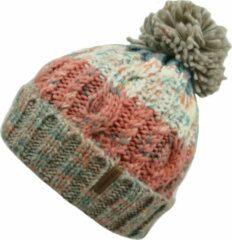 Pom Pom Muts Zalm - Roze, Wit, Blauwe Beanie Met Pompom - Wakefield Headwear - Mutsen