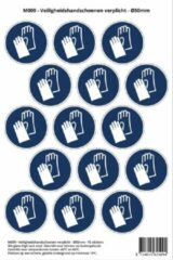 Blauwe Stickerkoning Pictogram sticker M009 - Veiligheidshandschoenen verplicht - 50 x 50mm - 15 stickers op 1 vel