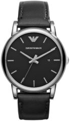 Emporio Armani Horloge Luigi staal/leder zwart AR1692