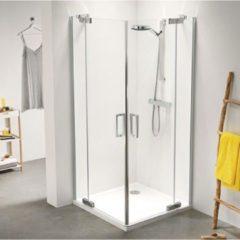 Zilveren Sealskin Get Wet Custom douchedeur hoekinstap 90x195cm zilverhoogglans helder glas CP50090D260100