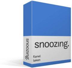 Snoozing flanel laken - 100% geruwde flanel-katoen - 2-persoons (200x260 cm) - Blauw