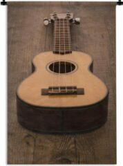 1001Tapestries Wandkleed Akoestische gitaar - Akoestische gitaar op een houten tafel Wandkleed katoen 120x180 cm - Wandtapijt met foto XXL / Groot formaat!