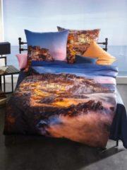 Mako-Satin Wendebettwäsche Cinque Terre blau Kaeppel blau