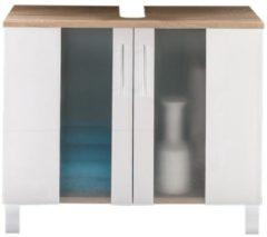 Trendteam Waschbecken Unterschrank Porto Bad Eiche weiß Badezimmer Bad Möbel