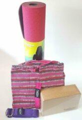 Yoga Styles Yoga Starterspakket TPE - beginnersset: een roze TPE yogamat + een kurk yogablok + een yogariem + een yogatas