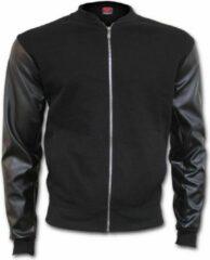 Spiral Direct Urban Fashion, basic heren bomber jas met nep leren mouwen zwart - XL - Spiral