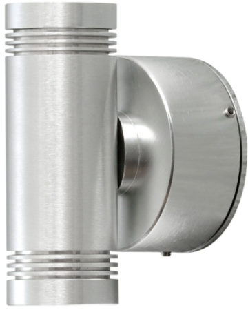 Afbeelding van Konstsmide Buitenlamp 'Monza Twin' Wandlamp, PowerLED 2 x 1W / 230V, kleur Alumimium