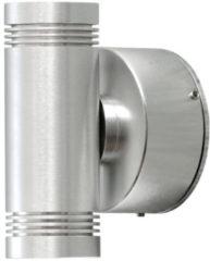 Konstsmide Buitenlamp 'Monza Twin' Wandlamp, PowerLED 2 x 1W / 230V, kleur Alumimium