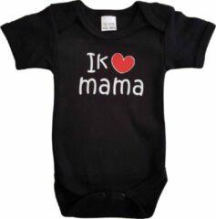 """Merkloos / Sans marque Zwarte romper met """"Ik hou van mama"""" - maat 68 - moederdag, zwanger, cadeautje, kraamcadeau, grappig, geschenk, baby, tekst"""