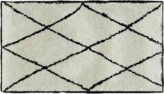 WW Vloerkleed - berber - beni quarain - beige / zwart - 80x150 - met rand - hoogpolig - rechthoekig