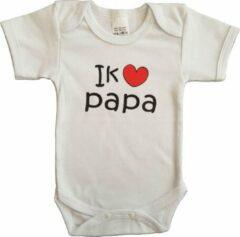"""Merkloos / Sans marque Witte romper met """"Ik hou van papa"""" - maat 68 - vaderdag, cadeautje, kraamcadeau, grappig, geschenk, baby, tekst"""