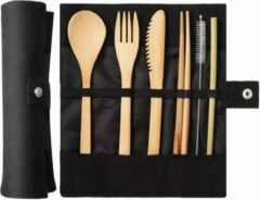 Bruine Davim Bamboe bestek - 8-delige set - Zwart - 1 persoons
