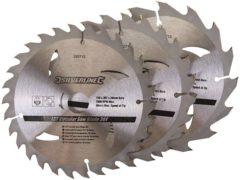 Silverline Tct Cirkelzaagblad 16, 24, 30 Tanden, 3 Stuks (150 X 20 - 16 En 12,75 mm Ringen)