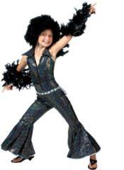Zwarte Funny Fashion Verkleedpak disco glitter meisje Boogie Jumpsuit 164