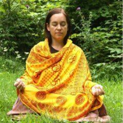 Prabhuji's Gifts Meditatie omslagdoek met mantra Om, natuurvezel, XL, 220 x 106 cm, oranje, vegan