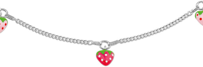 Afbeelding van Rode The Kids Jewelry Collection The Jewelry Collection Ketting Aardbei - Zilver