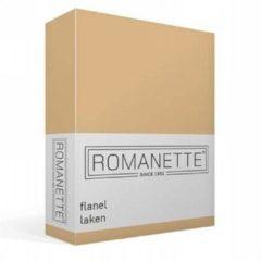 Romanette flanellen laken - 100% geruwde flanel-katoen - 2-persoons (200x260 cm) - Zand