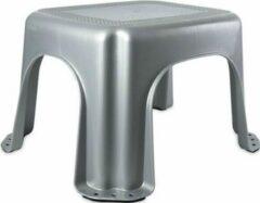Hega hogar Zilver/grijs opstapje/krukje 30 x 36 x 21 cm kunststof - Extra veilig anti-slip keukentrapje - Toilet/wc trainer opstapje voor kinderen