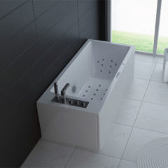 Douche Concurrent Whirlpool Bad Limrak Half Vrijstaand Rechthoek 1 Persoons 80x180x60cm Thermostaatkraan Luchtmassage LED Verlichting Bluetooth