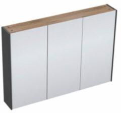 Adema Industrial Spiegelkast 100x70x15cm 3 deuren hout/zwart Industrial-100SPK