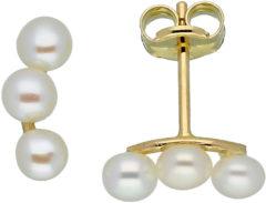 Glow Gouden Oorbellen met 3 zoetwaterparels van 3 mm 206.0339.00