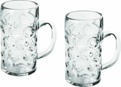 Transparante Santex 2x Bierpullen/bierglazen 1 liter/100 cl/1000 ml van onbreekbaar kunststof - 1 liter pullen - Bierfeest/Oktoberfest pul - Bierpul glazen