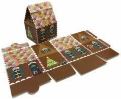 Presentdoosjes.nl Presentdoosje Kersthuisje bruin: 10,5x8,5x15cm (10 stuks)
