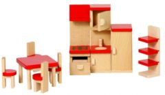 Rode Goki Poppenhuismeubeltjes: KEUKEN, kookfornuis H14cm, 9-delig