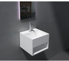Witte Cross Tone Solid surface standaard wastafel B32.5xD32.5xH25cm vierkant zonder waste wit mat CTS-2035