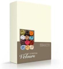 Creme witte Romanette - Velours - Hoeslaken - Eenpersoons - 80/90/100x200/220 cm - Ivoor
