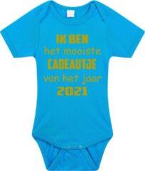 Merkloos / Sans marque Baby rompertje met leuke tekst | Ik ben het mooiste cadeautje van het jaar 2021 |zwangerschap aankondiging | cadeau papa mama opa oma oom tante | kraamcadeau | maat 92 blauw goud