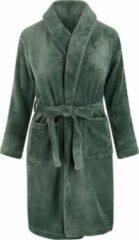 Relax Company Kinderbadjas - groen - fleece - meisjes & jongens - ochtendjas- maat 134-140