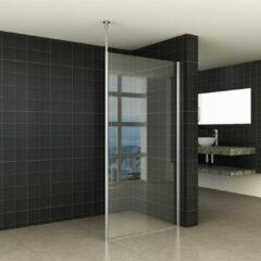 Praya Wiesbaden set verticale stabilisatiestang met plafond bevestiging voor 10mm glas met aluminium profiel - chroom 20.3866