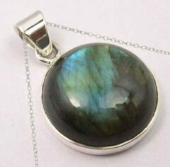 Blauwe Terra Edela Natuursieraad - 925 sterling zilver labradoriet ketting - luxe edelsteen sieraad - handgemaakt