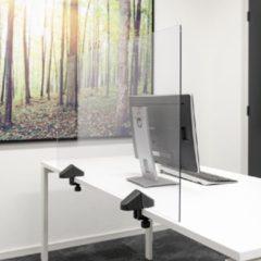 Transparante SMIT VISUAL Scheidingsscherm plexiglas 58x120 cm voor bureau/tafel, inclusief bureauklemmen dubbel bureau