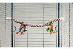 Beeztees Katoenen papegaaien Zitstok - Met gekleurde speeltjes.