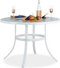 Relaxdays Gartentisch STRUK Glas rund 102 cm