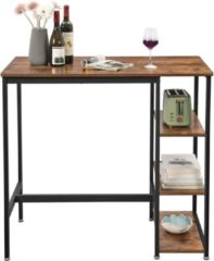 VASAGLE bartafel rechthoekig, bartafel met 3 planken, keukentafel, aanrecht, stevig metalen frame, 109 x 60 x 100 cm, eenvoudige montage, industrieel ontwerp, vintage, donkerbruin