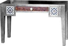 Baidani Excl. Designer Schreibtisch JAIPUR 120x48cm Mangoholz silber