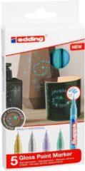 Lichtblauwe Edding glanslakmarkers – 5 Metallic kleurige verfstiften – Ronde punt van 0,8 mm