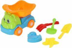 Oranje Gerimport strandspeelgoed truck junior 22 cm 6-delig