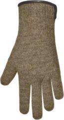 Beige Clausy Handschoenen dames van 100% wol en met echt leren randje