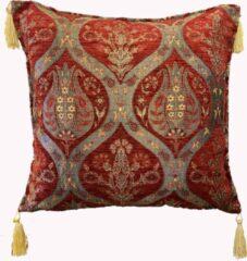 Rode Sunar Home Kussenhoesjes - Kussenhoes - Sierkussenhoes -Tulp design - Kussentjes - kussenhoes 45x45 cm