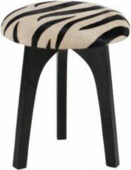 Witte Duverger Zebra - Krukjes - set van 2 - rond - kunstleer - zebra deco - dia 36x47cm