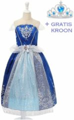 Spaansejurk NL Cinderella jurk Prinsessen jurk verkleedjurk 104-110 (120) donker blauw met broche + GRATIS kroon